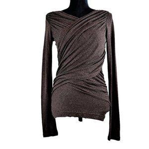 Club Monaco Sweater  L Faux Wrap Brown